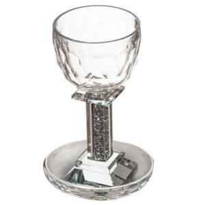 """גביע קריסטל רגל אבנים כסף מרובעת 17 ס""""מ"""