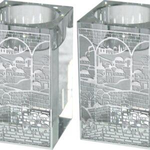 """זוג פמוטי קריסטל מרובעים עם חיתוכי לייזר """"ירושלים"""" 8 ס""""מ"""