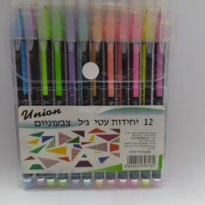 12 עטי ג'ל צבעוניים זוהרים